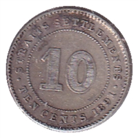 Straits Settlements 1891 10 Cents VF-EF