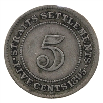 Straits Settlements 1895 5 Cents Very Fine