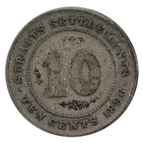 Straits Settlements 1896 10 Cents F-VF