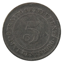 Straits Settlements 1900 5 Cents Very Fine
