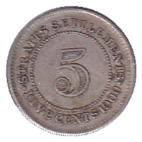 Straits Settlements 1900 5 Cents VF-EF