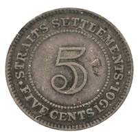 Straits Settlements 1901 5 Cents Very Fine