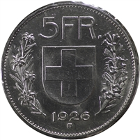 Switzerland 1926B 5 Francs AU-UNC (AU-55)