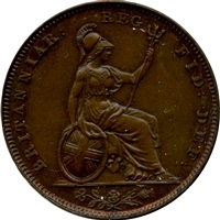 Great Britain 1838 Raised WW Farthing UNC+ (MS-62)