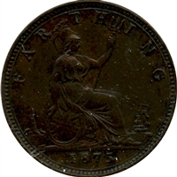 Great Britain 1875 5 Berries Small Date Farthing EF-AU (EF-45)