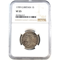 Great Britain 1709 1 Shilling NGC Certified VF 25