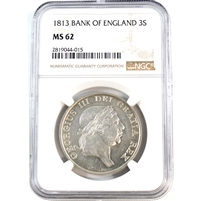 Bank of England 1813 3 Shilling Bank Token NGC Certified MS62