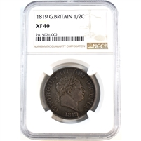 Great Britain 1819 1/2 Penny NGC Certified XF40