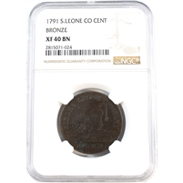 Sierra Leone Co. 1791 Cent Bronze NGC Certified XF40 BN