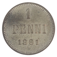 Finland 1881 Penni Uncirculated (MS-60)