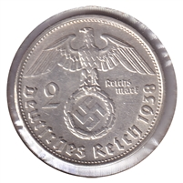 Germany 1938B 2 Mark Almost Uncirculated (AU-50)