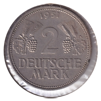Germany 1951D 2 Mark Almost Uncirculated (AU-50)