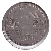 Germany 1951F 2 Mark Almost Uncirculated (AU-50)