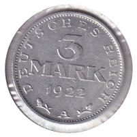 Germany 1922A 3 Mark Uncirculated (MS-60)