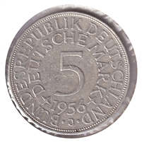Germany 1956J 5 Mark Almost Uncirculated (AU-50)