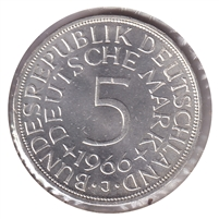 Germany 1966J 5 Mark Brilliant Uncirculated (MS-63)
