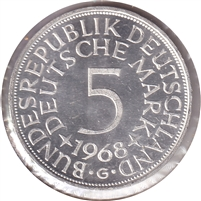 Germany 1968G 5 Mark Brilliant Uncirculated (MS-63)