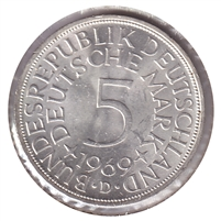 Germany 1969D 5 Mark Brilliant Uncirculated (MS-63)