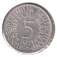 Germany 1971D 5 Mark Uncirculated (MS-60)