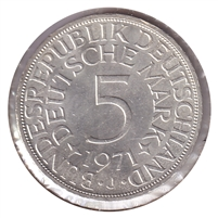 Germany 1971J 5 Mark Brilliant Uncirculated (MS-63)
