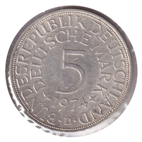 Germany 1974D 5 Mark Uncirculated (MS-60)