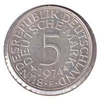 Germany 1974F 5 Mark Brilliant Uncirculated (MS-63)