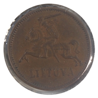 Lithuania 1936 2 Centai Almost Uncirculated (AU-50)