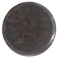 Norway 1884 2 Ore Very Fine (VF-20)