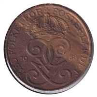 Sweden 1938 5 Ore Almost Uncirculated (AU-50)