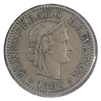 Switzerland 1880B 10 Rappen VF-EF (VF-30)