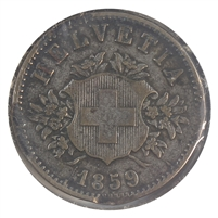 Switzerland 1859B 20 Rappen Very Fine (VF-20)