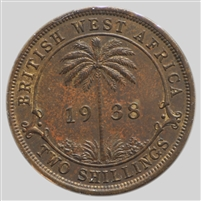 British West Africa 1938KN 2 Shillings Almost Uncirculated (AU-50)