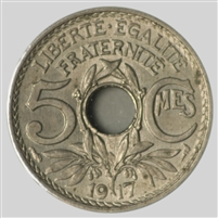 France 1917 5 Centimes Almost Uncirculated (AU-50)