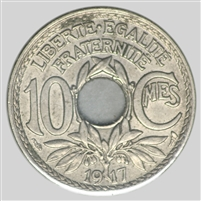 France 1917 10 Centimes Almost Uncirculated (AU-50)