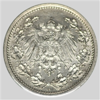 Germany 1905A 1/2 Mark Almost Uncirculated (AU-50)