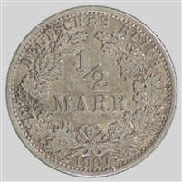 Germany 1907A 1/2 Mark Almost Uncirculated (AU-50)
