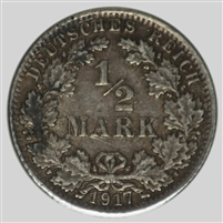 Germany 1917A 1/2 Mark Almost Uncirculated (AU-50)
