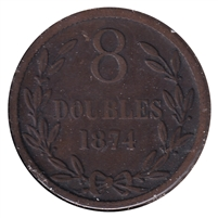Guernsey 1874 8 Doubles F-VF (F-15)