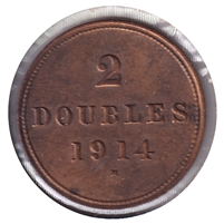 Guernsey 1914H 2 Doubles Almost Uncirculated (AU-50)