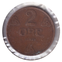 Norway 1921 2 Ore VF-EF (VF-30)