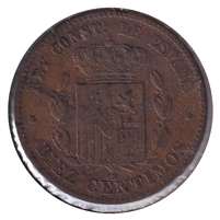 Spain 1878OM 10 Centimos VF-EF (VF-30)