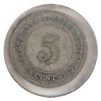 Straits Settlements 1899 5-cents Very Good (VG-8)