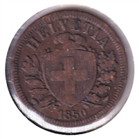 Switzerland 1850A 2 Rappen Very Fine (VF-20)