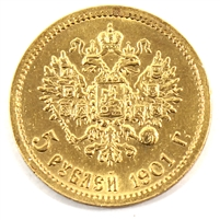 Russia 1901 5 Roubles Gold Almost Uncirculated (AU-50) cleaned