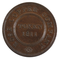Great Britain 1811 Rose Copper Company Penny Token AU-UNC (AU-55) $