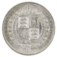 Great Britain 1887 1/2 Crown Brilliant Uncirculated (MS-63) $