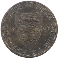 Jersey 1909 1/12 Shilling Extra Fine (EF-40)