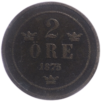 Sweden 1875 2 Ore Very Fine (VF-20)