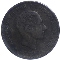 Spain 1879OM 5 Centimes VF-EF (VF-30)