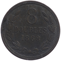 Guernsey 1868 8 Doubles Extra Fine (EF-40) $